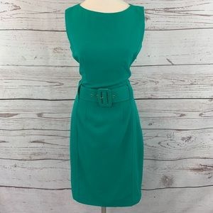 Calvin Klein green sheath dress with belt